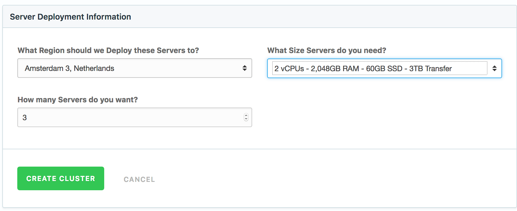 Choose server specifics