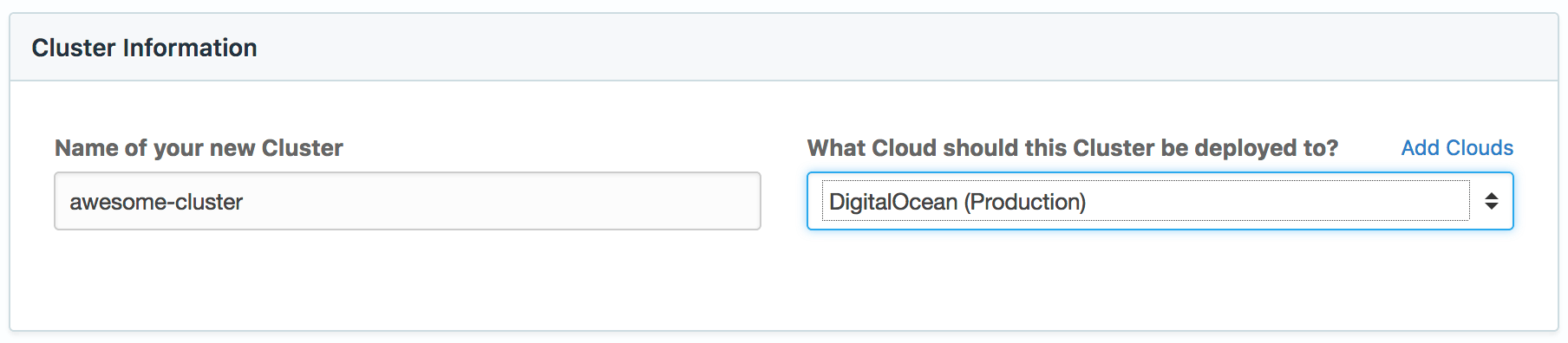 Choose name and target cloud