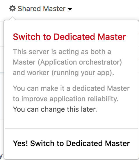 Switch master to dedicated