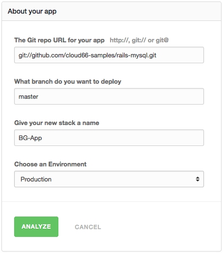 Fill in the information about your app: Git repo, name and environment