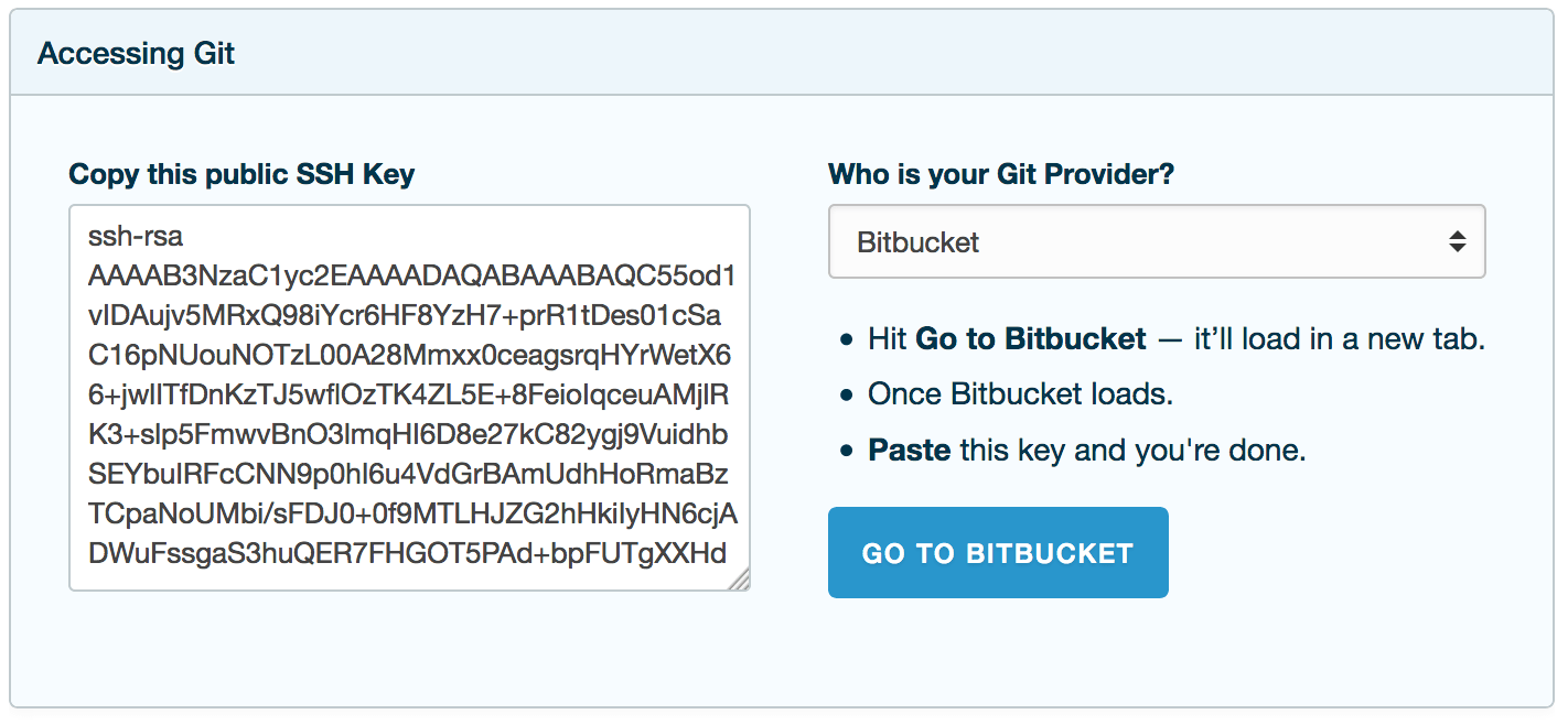 Adding the Public Key to BitBucket
